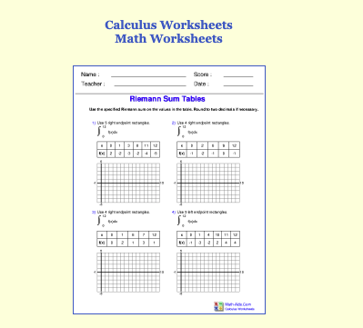Math Aids – Worksheets